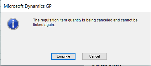 The requisition item quantity is being cancelled and cannot be linked again.