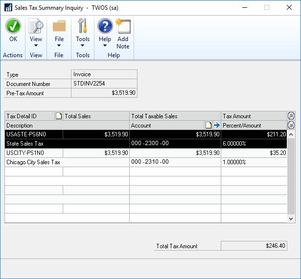 Sales Tax Summary Enquiry