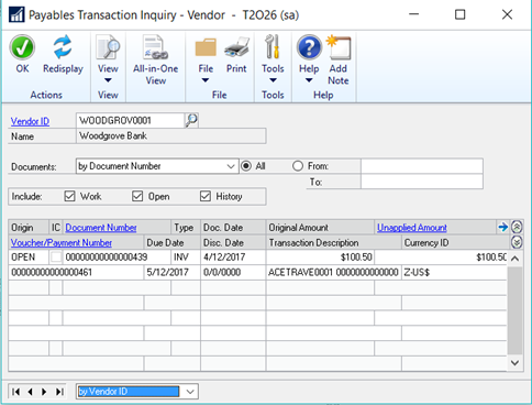 Payables Transaction Inquiry