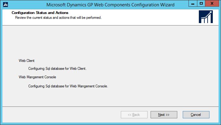 Microsoft Dynamics GP Web Components Configuration Wizard: Configuration Status and Actions