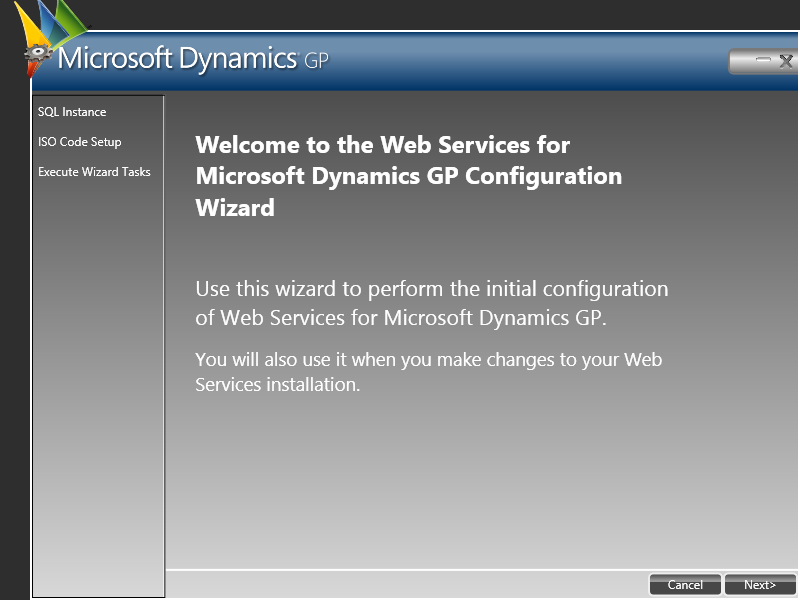 Web Service for Microsoft Dynamics GP Configuration Wizard: Welcome to the Web Service for Microsoft Dynamics GP Configuration Wizard