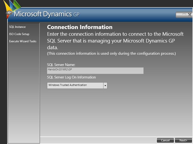 Web Service for Microsoft Dynamics GP Configuration Wizard: Connection Information