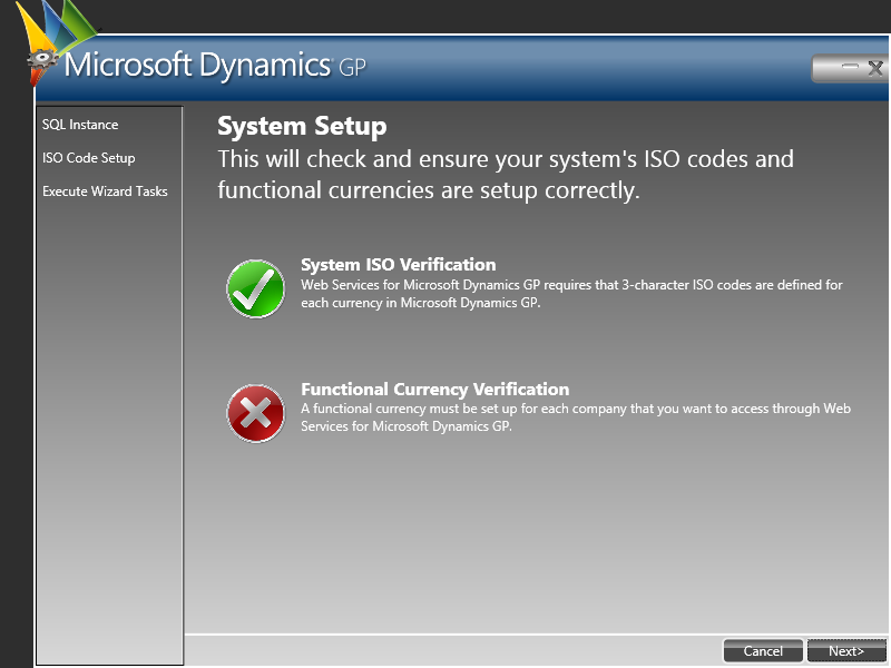 Web Service for Microsoft Dynamics GP Configuration Wizard: System Setup
