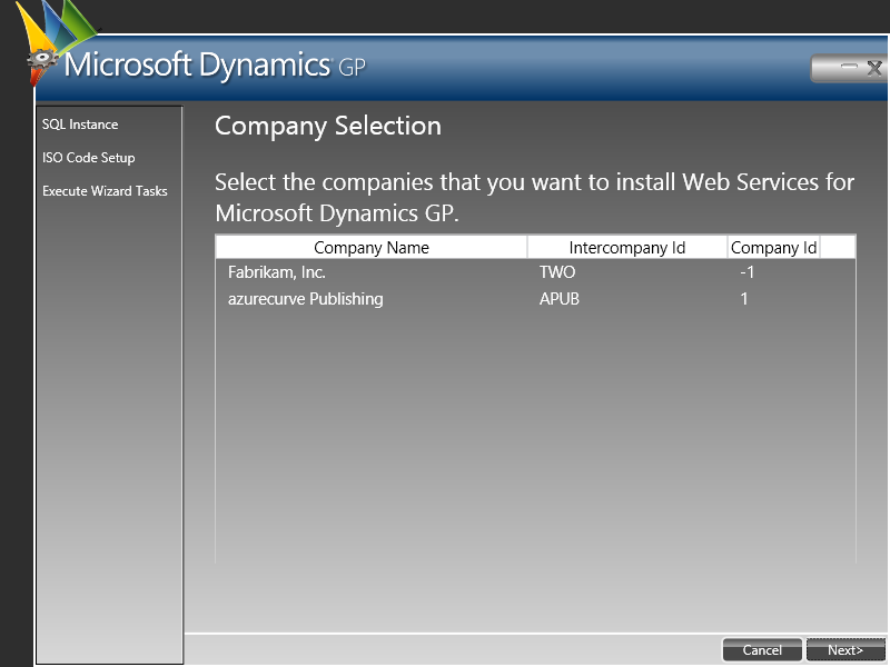 Web Service for Microsoft Dynamics GP Configuration Wizard: Company Selection