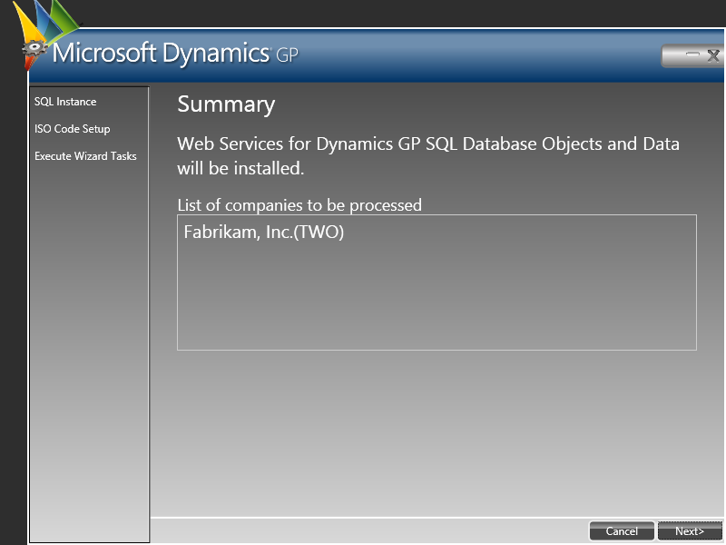 Web Service for Microsoft Dynamics GP Configuration Wizard: Summary