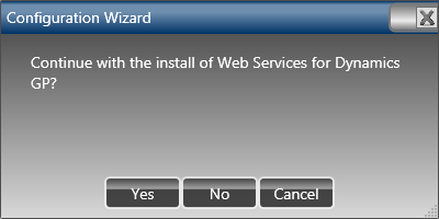 Configuration Wizard: Continue with the install of Web Services for Dynamics GP