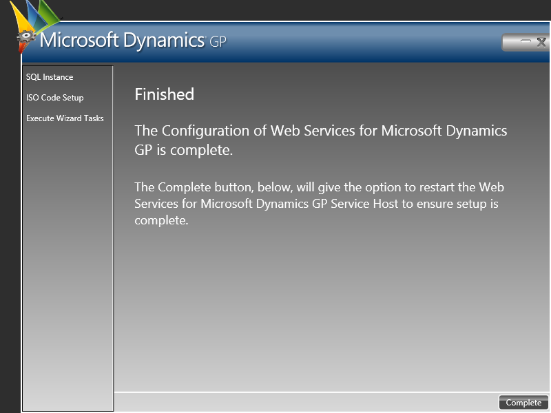 Web Service for Microsoft Dynamics GP Configuration Wizard: Finished