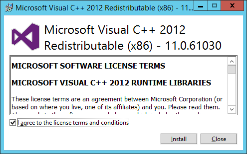 Mirosoft Visual C++ Redistributable (x86) - Licence Agreement