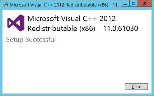 Mirosoft Visual C++ Redistributable (x86) - Setup Successful