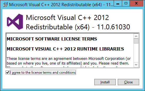 Mirosoft Visual C++ Redistributable (x64) - Licence Agreement