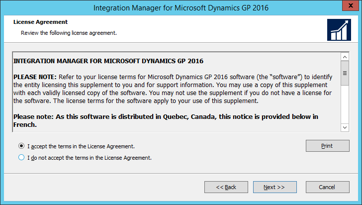 Integration Manager for Microsoft Dynamics GP 2016 Setup Utility 2016: License Agreement