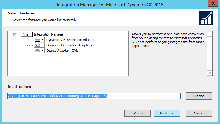Integration Manager for Microsoft Dynamics GP 2016 Setup Utility 2016: Select Features