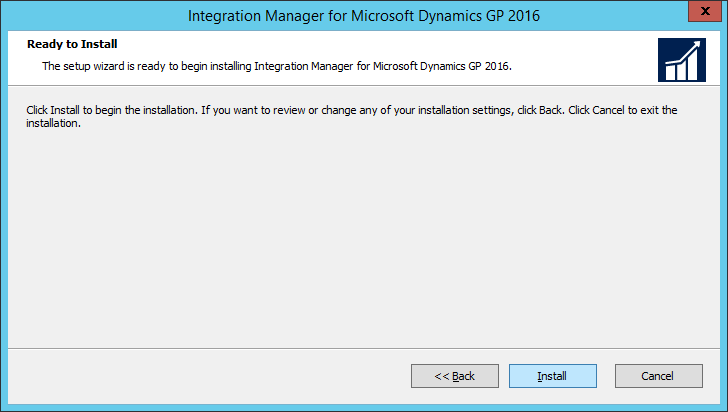 Integration Manager for Microsoft Dynamics GP 2016 Setup Utility 2016: Ready to Install