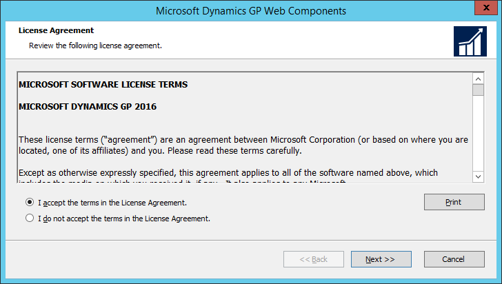 Microsoft Dynamics GP Web Components: License Agreement