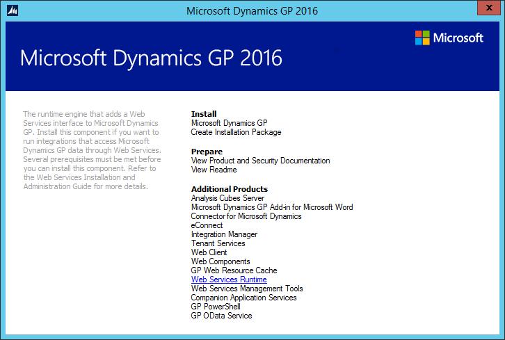 Microsoft Dynamics GP 2016 setup utility