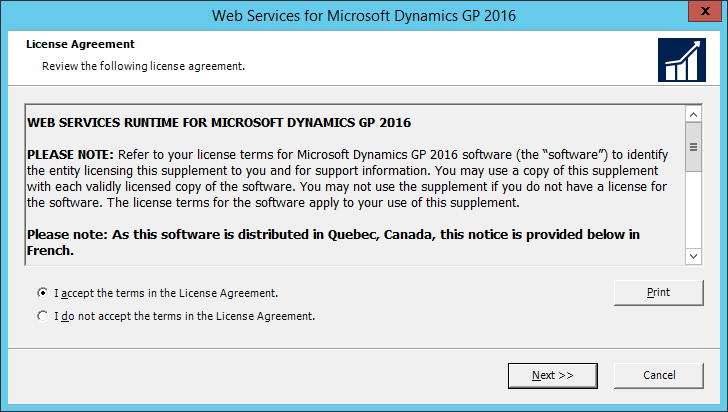 Web Services for Microsoft Dynamics GP 2016: License Agreement