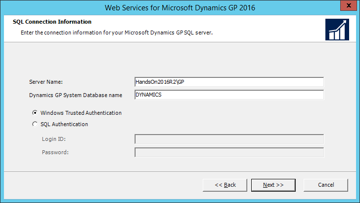 Web Services for Microsoft Dynamics GP 2016: SQL Connection Information