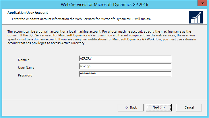 Web Services for Microsoft Dynamics GP 2016: Application User Account
