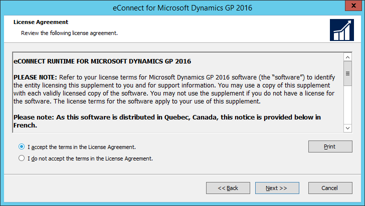 eConnect for Microsoft Dynamics GP 2016: License Agreement