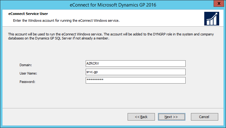 eConnect for Microsoft Dynamics GP 2016: eConnect Service User