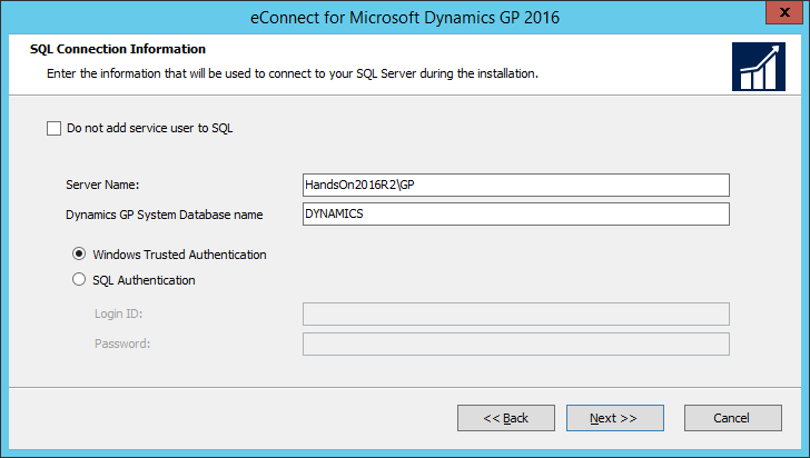 eConnect for Microsoft Dynamics GP 2016: SQL Connection Information