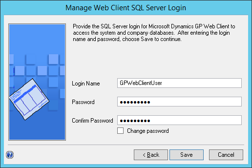 Manage Web Client SQL Server Login