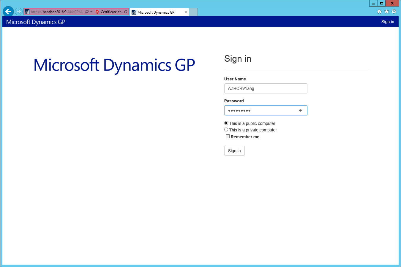 Microsoft Dynamics GP Sign in