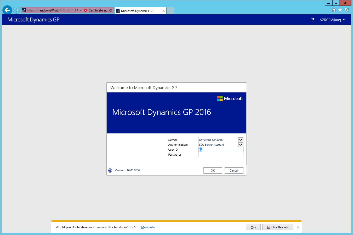 Welcome to Microsoft Dynamics GP