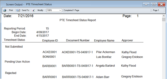 Project Accounting Timesheet Status Report
