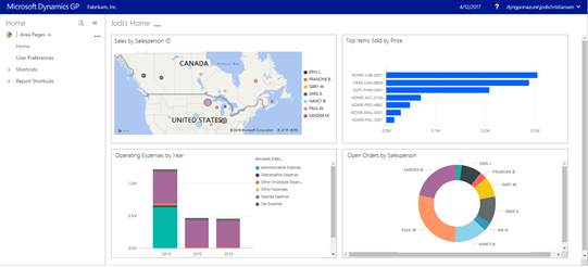 Power BI on GP Web Client Home Page