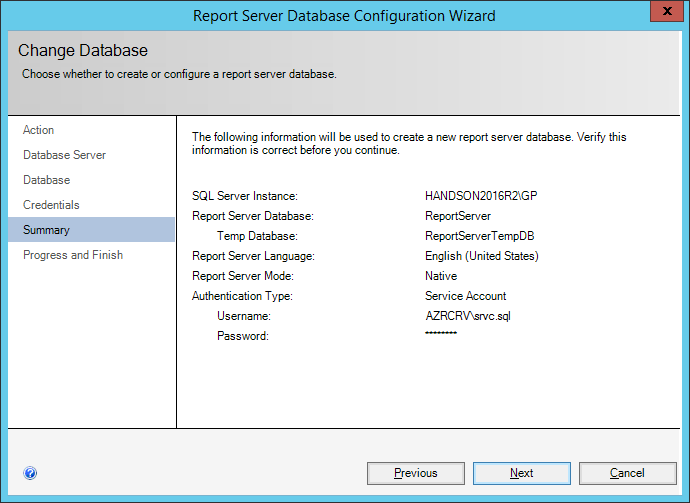 ReportServer Database Configuration Wizard: Summary