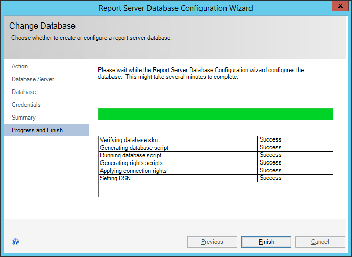 ReportServer Database Configuration Wizard: Progress and Finish