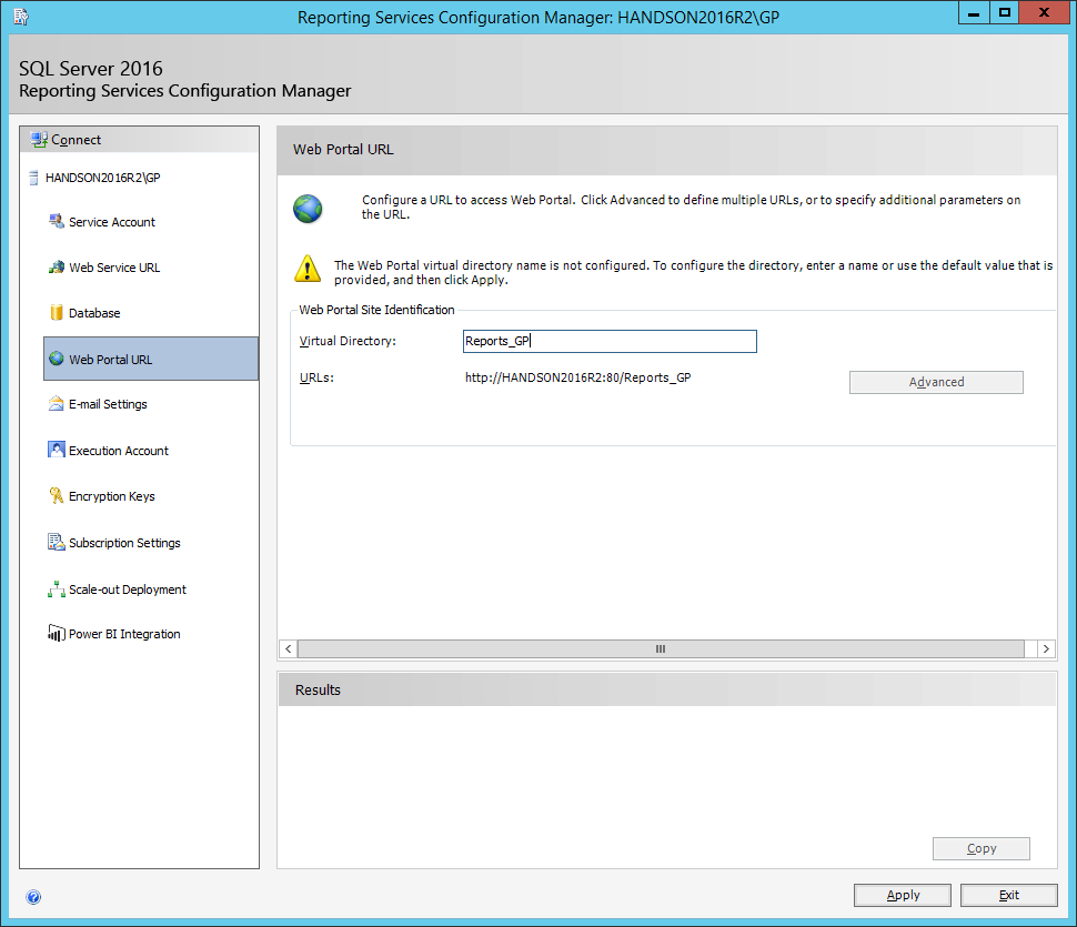 Reporting Services Configuration Manager: Web Portal URL