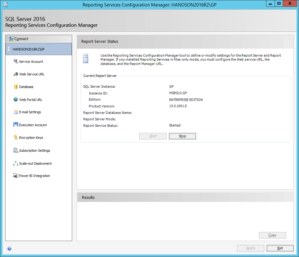 Reporting Services Configuration Manager: HANDSON2016R2\GP