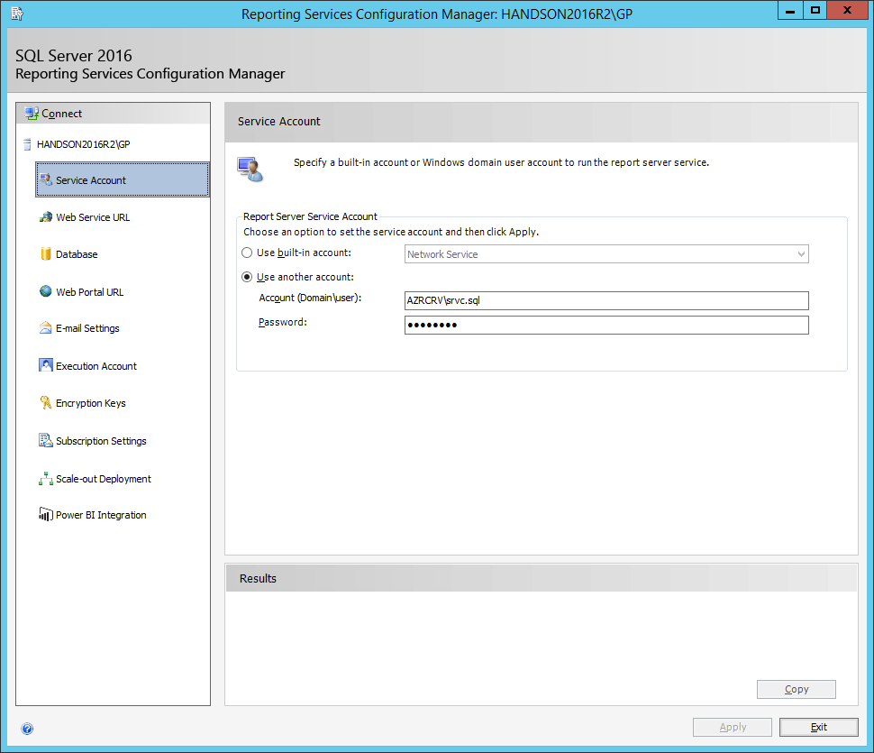 Reporting Services Configuration Manager: Service Account