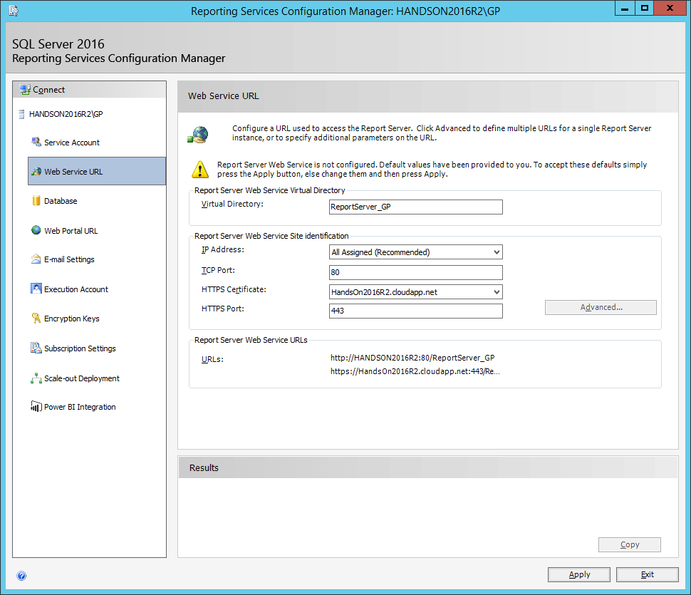Reporting Services Configuration Manager: Web Service URL