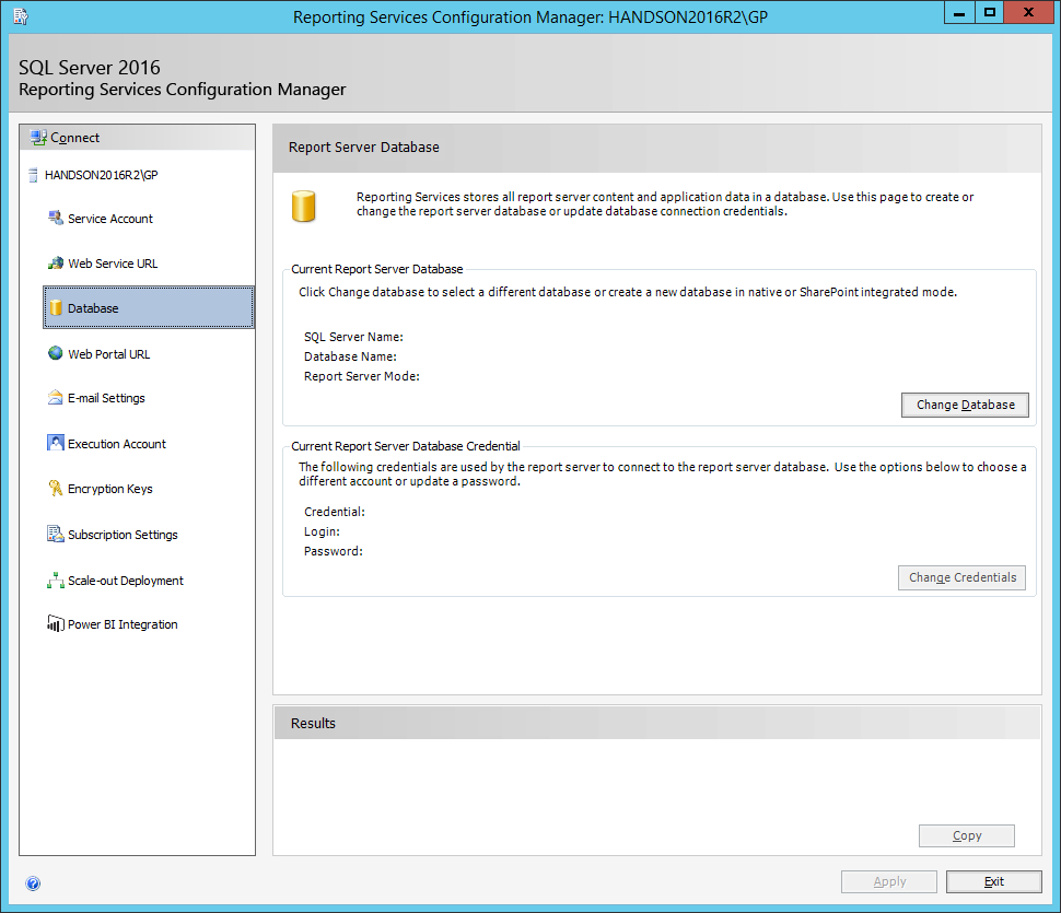 Reporting Services Configuration Manager: Database