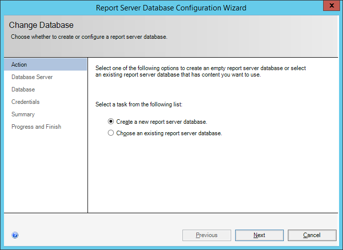 Report Server Database Configuration Wizard: Action