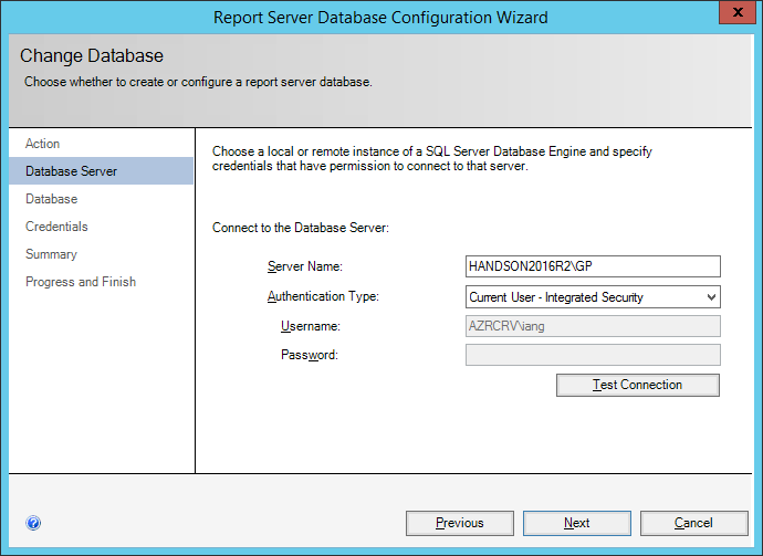 ReportServer Database Configuration Wizard: Database Server