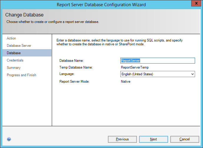 ReportServer Database Configuration Wizard: Database