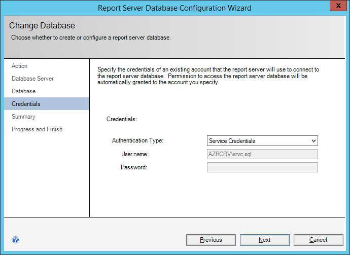 ReportServer Database Configuration Wizard: Credentials