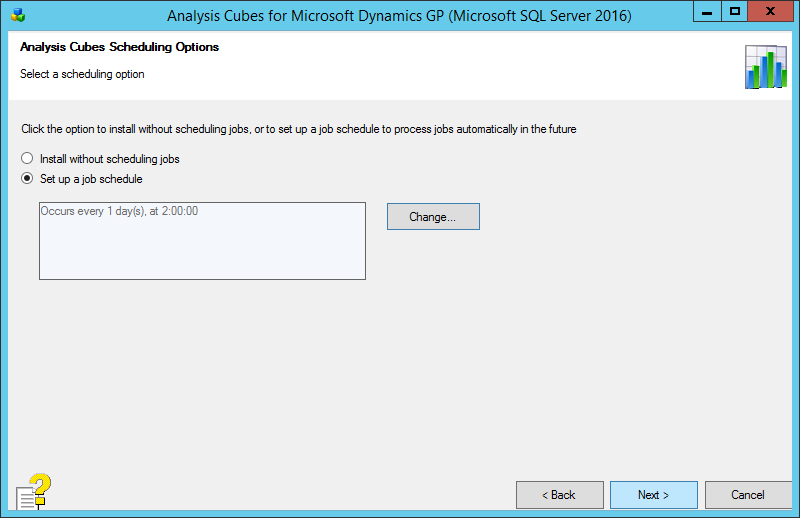 Analysis Cubes for Microsoft Dynamics GP (Microsoft SQL Server 2016): Analysis Cubes Scheduling Options