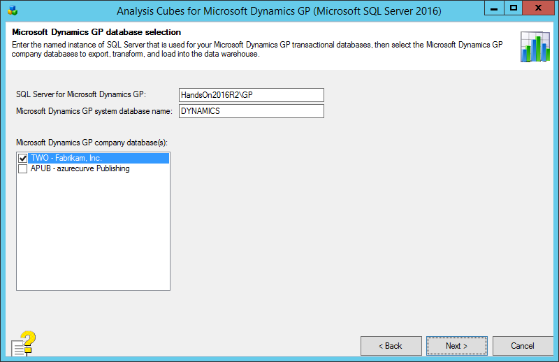Analysis Cubes for Microsoft Dynamics GP (Microsoft SQL Server 2016): Microsoft Dynamics GP database selection