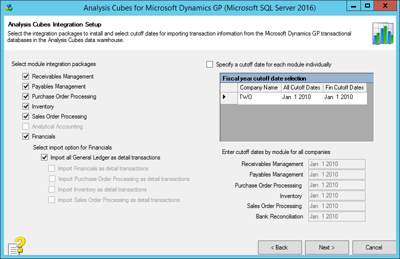 Analysis Cubes for Microsoft Dynamics GP (Microsoft SQL Server 2016): Analysis Cubes Integration Setup