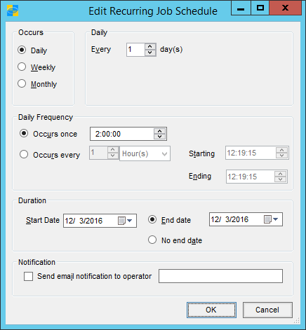 Analysis Cubes for Microsoft Dynamics GP (Microsoft SQL Server 2016): Edit Recurring Job Schedule