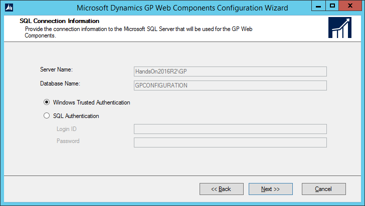Microsoft Dynamics GP Web Components Configuration Wizard: SQL Connection Information