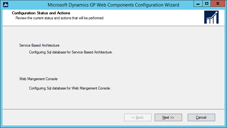 Microsoft Dynamics GP Web Components Configuration Wizard: Select Features