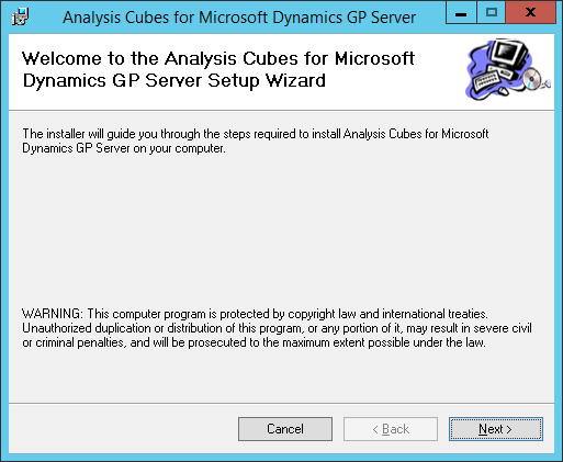 Analysis Cubes for Microsoft Dynamics GP Server: Welcome to the Analysis Cubes for Microsoft Dynamics GP Server Setup Wizard