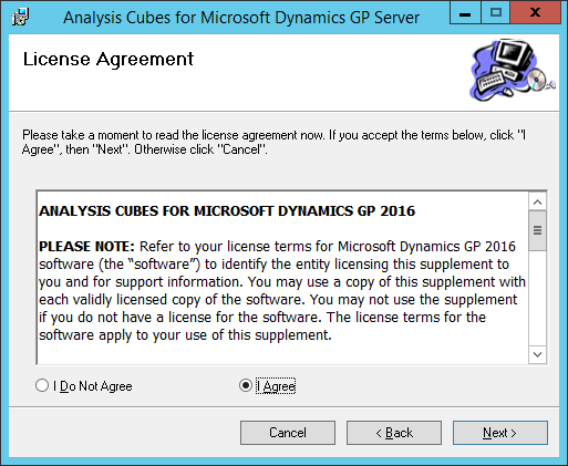 Analysis Cubes for Microsoft Dynamics GP Server: License Agreement
