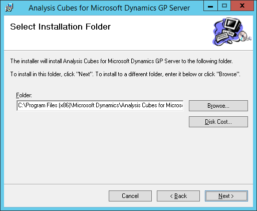 Analysis Cubes for Microsoft Dynamics GP Server: Select Installation Folder